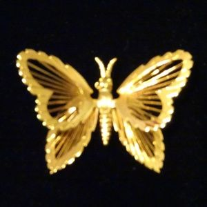 Vintage Monet Goldtone Butterfly Pin